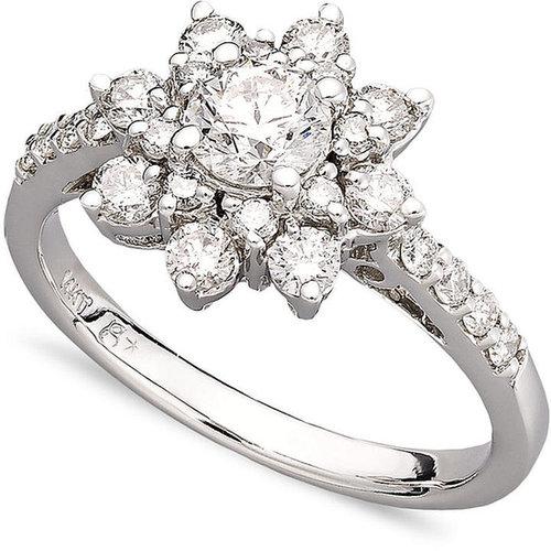 Macy's Diamond Ring, 14k White Gold Diamond Flower Ring (1-1/6 ct. t.w.)