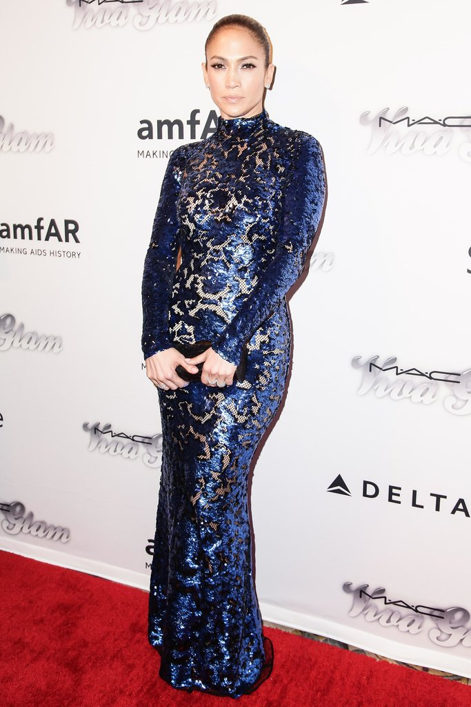 Jennifer Lopez posed in a curve-conscious indigo gown. Source: Matteo Prandoni/BFAnyc.com