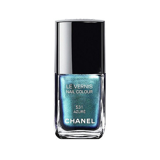 One of the top nail trends of the Summer is sleek, shiny metallic polish. We picked our favorites, and you pinned Chanel Le Vernis in Azure as your favorite.