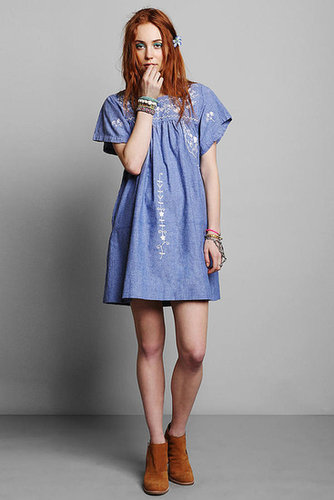 Vintage '80s Embroidered Chambray Dress
