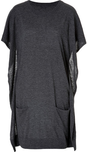 Closed Wool-Cashmere Draped Side Dress in Anthracite
