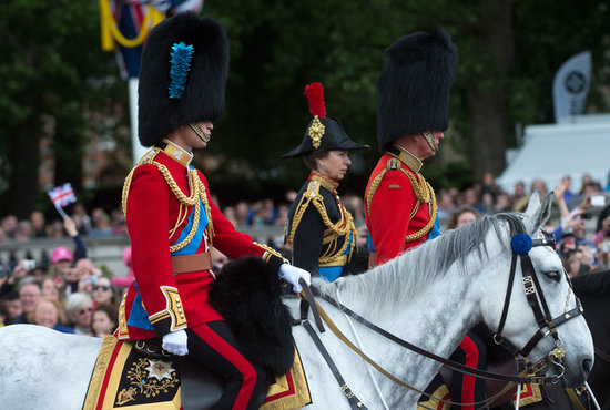 Prince William rode alongside Prince Charles and Anne, Princess Royal.