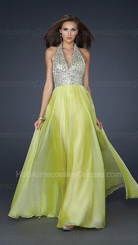Cheap Light Lime Long Chiffon Homecoming Dress with Fully Beaded Bust