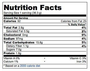 Fita crackers calories protein