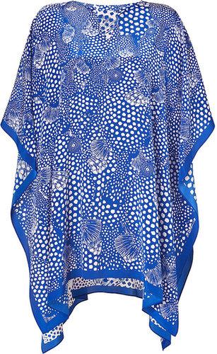 Issa Royal Blue Printed Silk Crepe de Chine Silk Kaftan