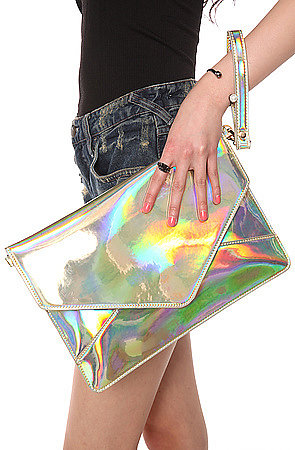 Melie Bianco The Janelle Clutch in Hologram Multi