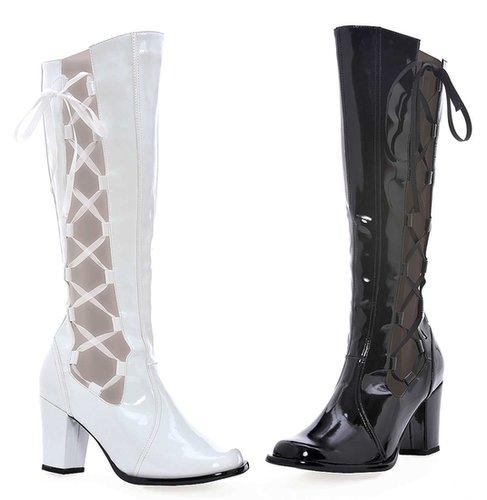 "Ellie Shoes E-303-Mod, 3"" Knee High Boots with Zipper-Satin-Boutique.com"