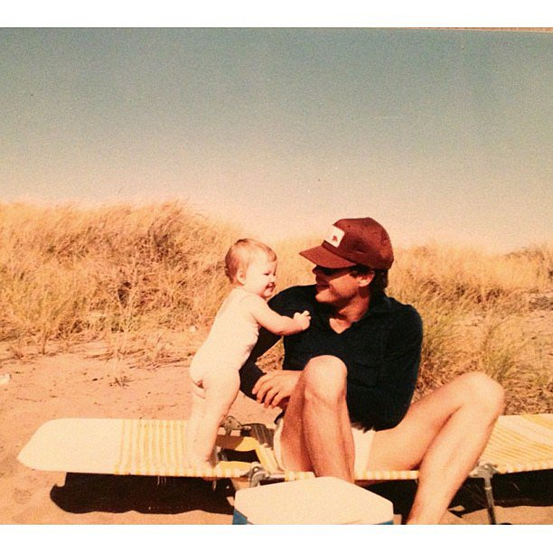 Erica Christensen was just a tiny tot when she hit the beach with her father. Source: Instagram user ericachristensen
