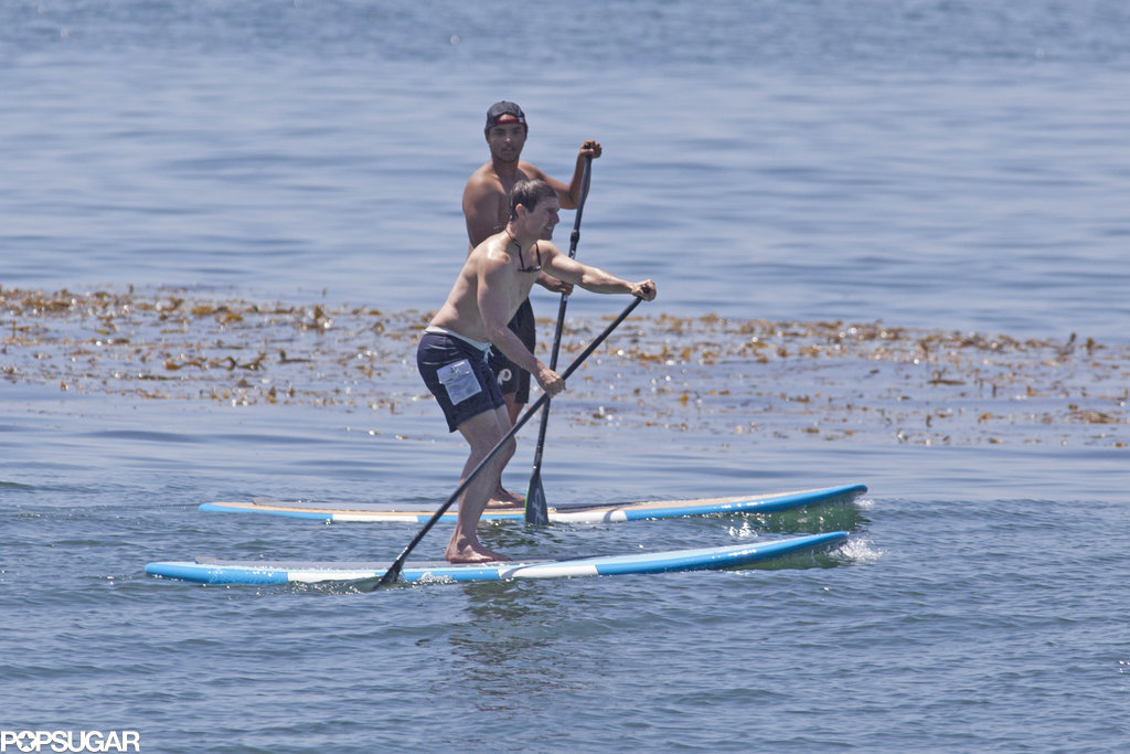 Shirtless Tom Cruise went paddleboarding with his son, Connor Cruise, on Father's Day.
