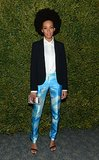 Solange Knowles amped up her cloud-print Michael Kors pants with a structured blazer and striped lucite Alice + Olivia clutch at a Michael Kors event in LA.