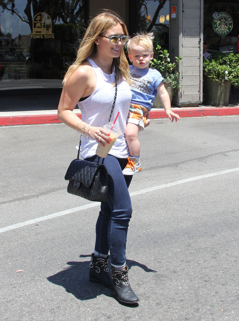 Hilary Duff took her son, Luca Comrie, out for lunch and shopping in the Beverly Glen neighborhood in LA.