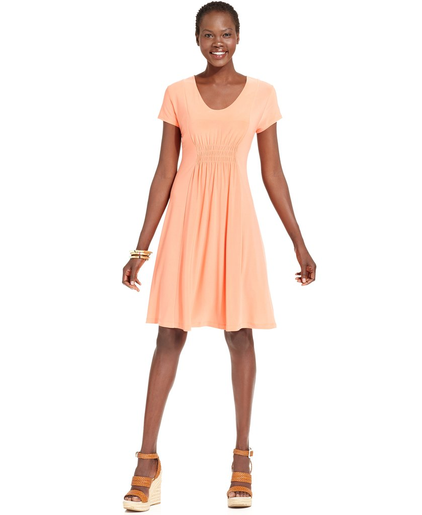 The short-sleeved, knee-length dress is an office standard, no matter where you clock in and out. Keep the look fresh in a bright hue like Elementz's Summery sherbet ($33, originally $44).