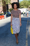 We are totally crushing on Solange's NYFW look: polka-dot tee, blue sequined J.Crew houndstooth pencil skirt, and pointed leopard pumps.