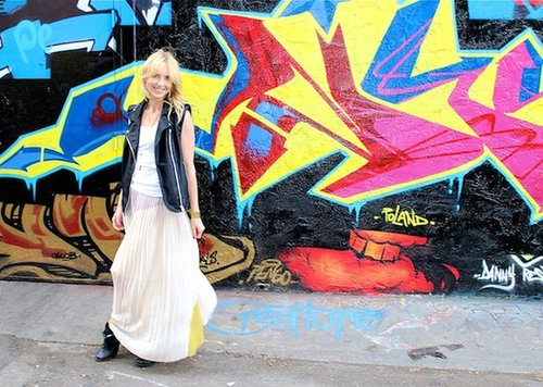 The Mission: Pleated Maxi Skirt & Moto Vest