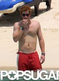 Prince Harry waded in the water at Mauritius island in December 2008.
