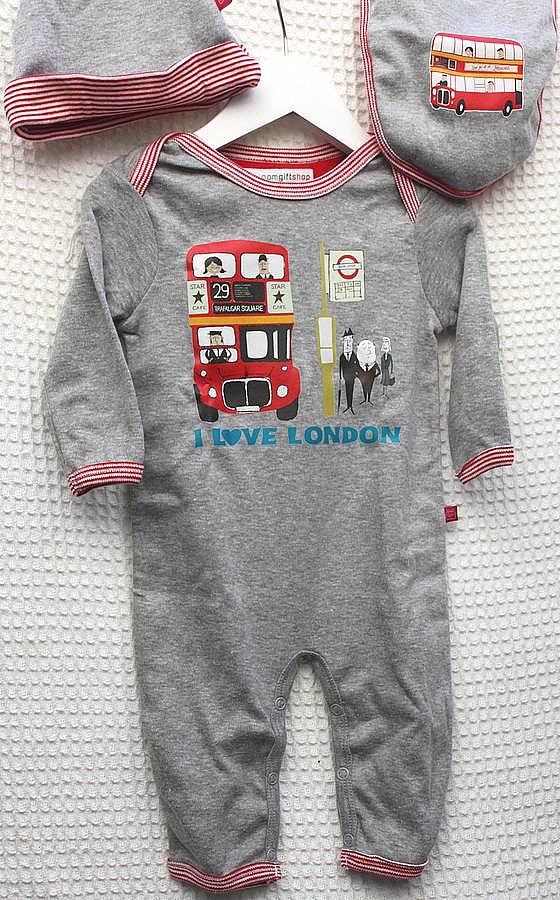 How sweet is Posh Totty Designs Interiors' I Love London Sleep Suit, Hat, and Bib Set ($47) — either for a baby who lives in London or one whose parents aspire to do so?