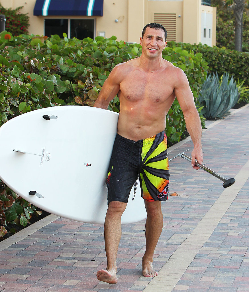 In February, boxer Wladimir Klitschko went surfing in Miami.