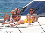 Soccer player Cristiano Ronaldo relaxed on a yacht with a pal in Miami earlier this week.