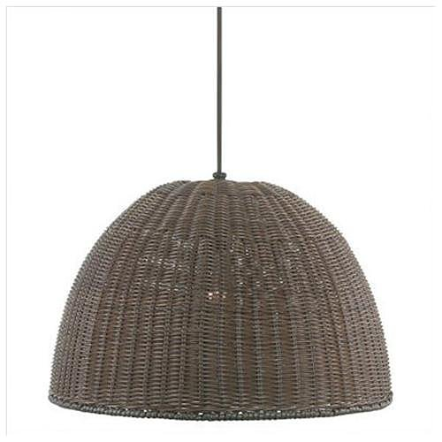 Steal the look of glowing rattan pendants with a similar version, like this Outdoor Wicker Pendant ($100).