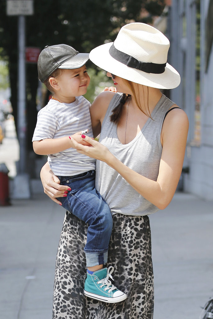 Flynn Works the Cameras With His Model Mum Miranda Kerr
