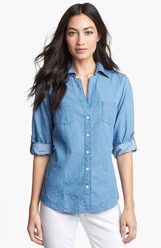 Foxcroft Roll Sleeve Denim Shirt