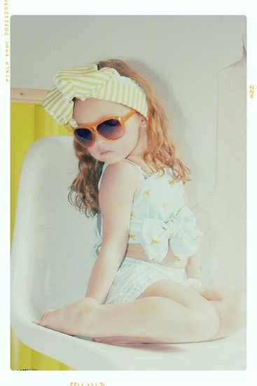 Summer Blue Bow Sun Suit