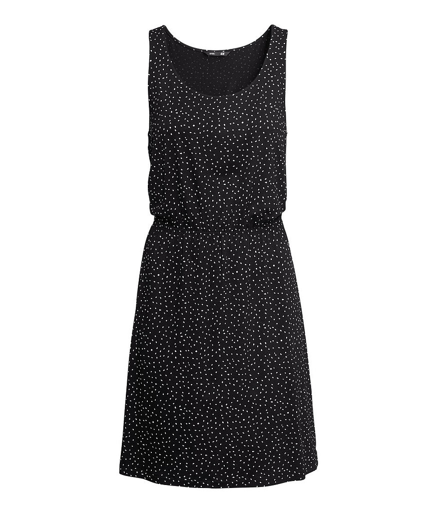 Ladies that have a hard time taking off the little black dress can proceed with baby steps. Try a style with a tiny print, like H&M's barely patterned offering ($13).