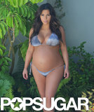 Pregnant Kim Kardashian wore a tiny bikini in LA five days before childbirth.