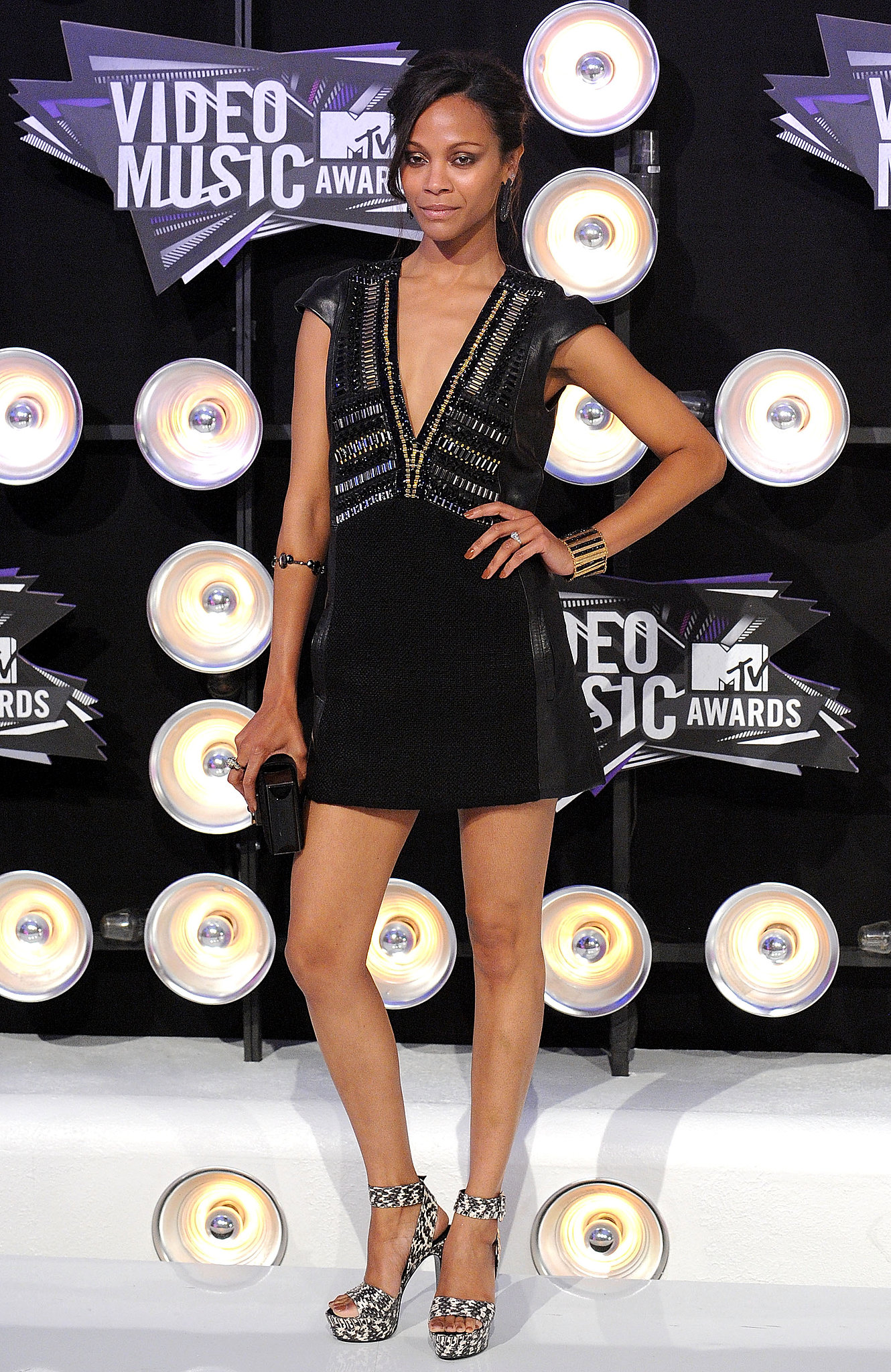 She wore a sexy and superexotic head-to-toe ensemble by Barbara Bui to the 2011 MTV Video Music Awards.