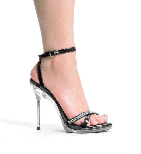 "Ellie Shoes E-458-Amy, 4.5"" Metallic Heel Rhinestone Sandal-Satin-Boutique.com"