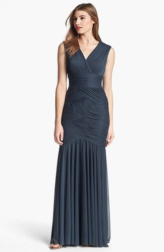 Adrianna Papell Shirred Mermaid Gown