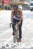 Penn Badgley showed off his arms during a bike ride in NYC in August 2012.