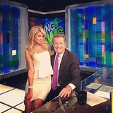 Paris Hilton cozied up to Piers Morgan on the set of his talk show. Source: Instagram user parishilton