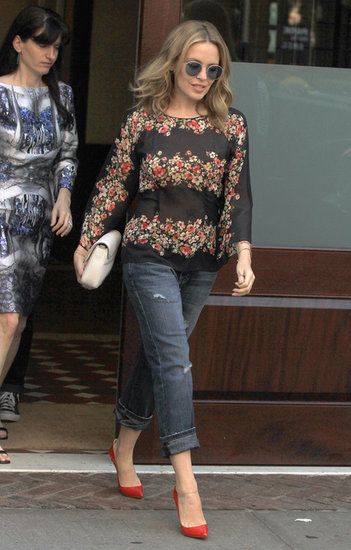 Kylie Minogue's red pumps paired nicely with her floral blouse during an outing in NYC.