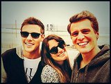 "Lea Michele shared a cute photo with her ""two favorite boys,"" boyfriend Cory Monteith and best friend Jonathan Groff. Source: Twitter user msleamichele"