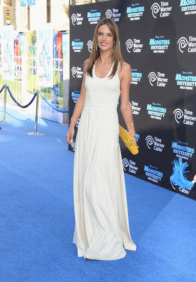 Alessandra Ambrosio donned a white maxi dress with a yellow clutch for the Monsters University premiere in Hollywood.