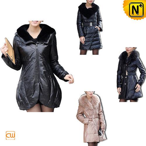 Leather Down Fur Coat CW148270 - cwmalls.com