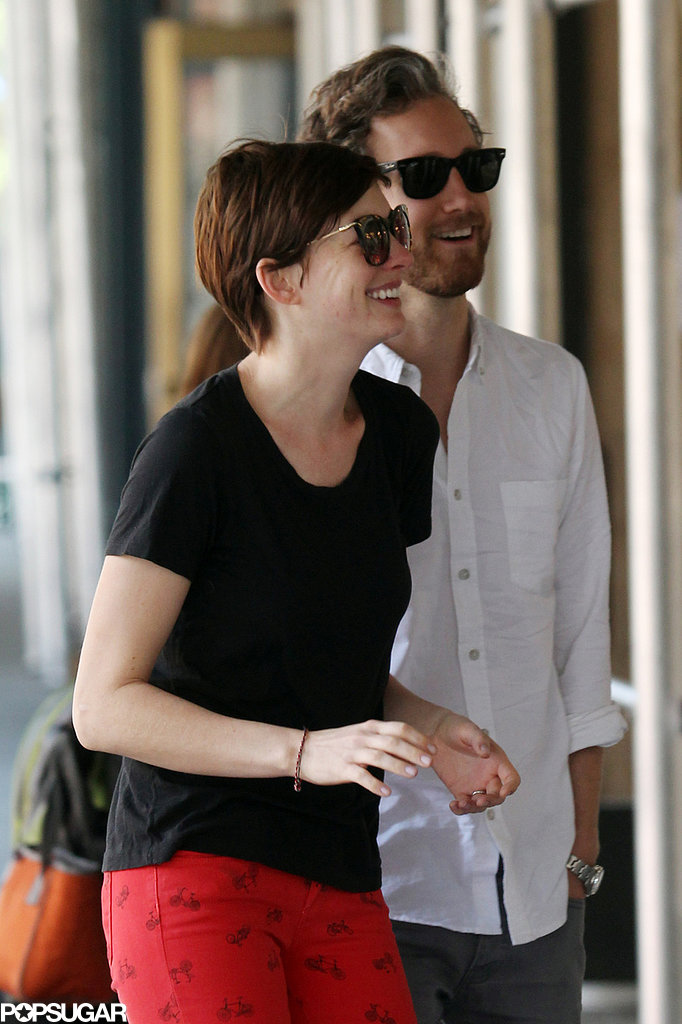 Anne Hathaway and Adam Shulman shared a laugh.