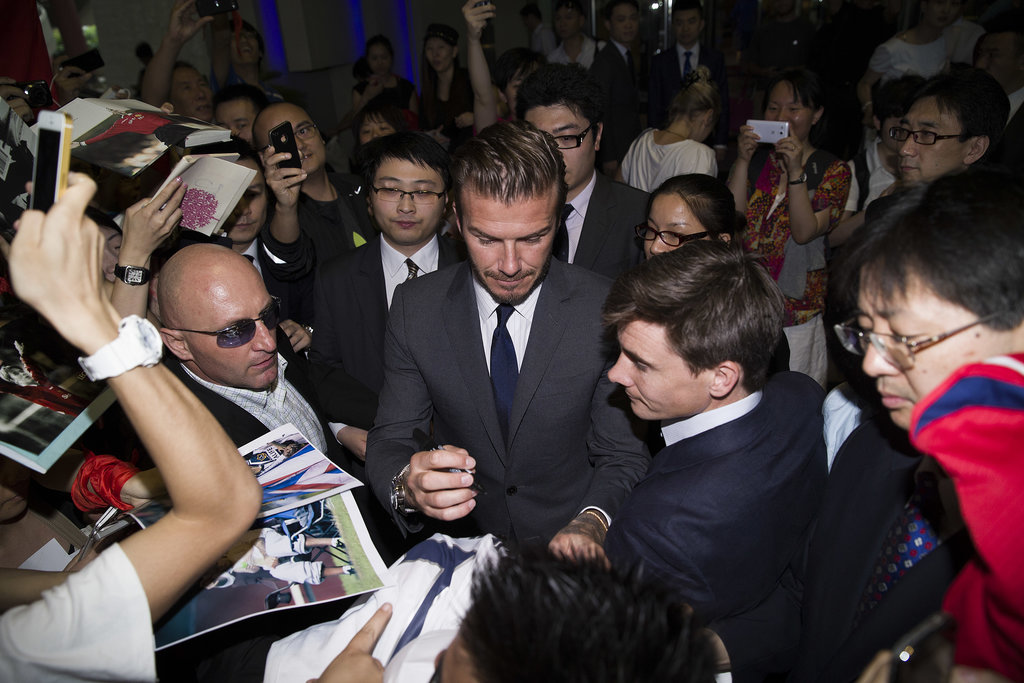 David Beckham signed autographs in Shanghai.