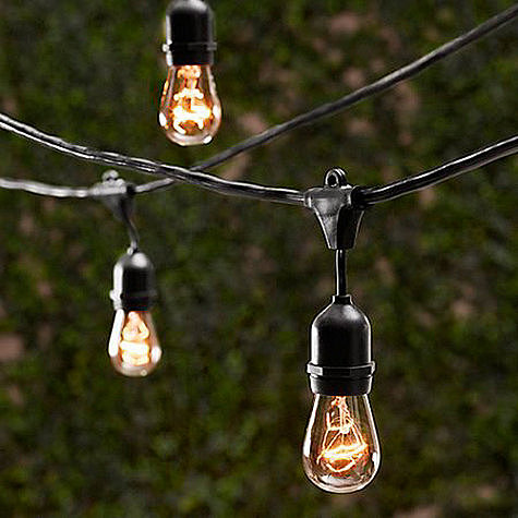 String lights create a casual, relaxed atmosphere. Use these vintage-inspired lights ($99) to light up your next outdoor dinner party.