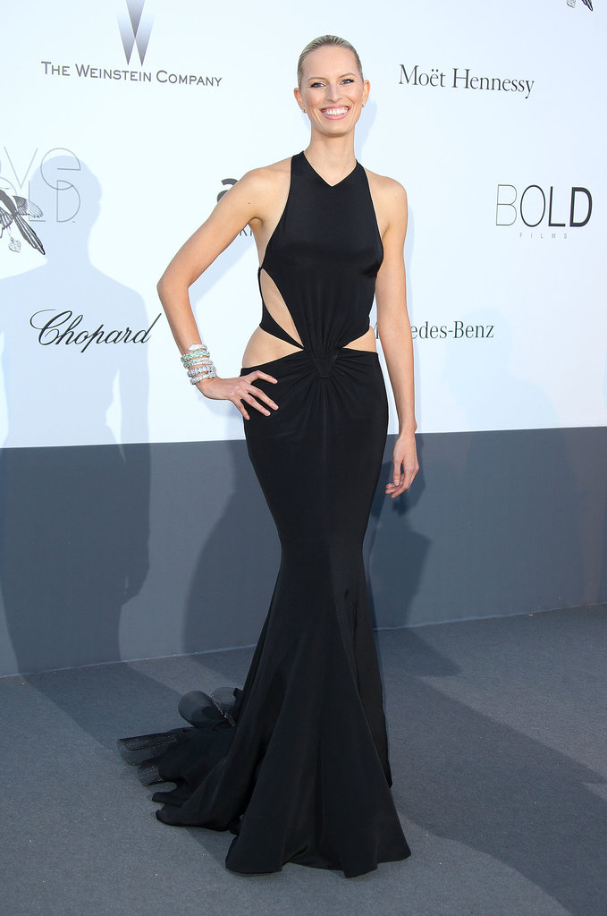 Karolína Kurková's black cutout Roberto Cavalli gown showed off all her amazing curves at the amfAR Cinema Against AIDS Gala in Cap d'Antibes.