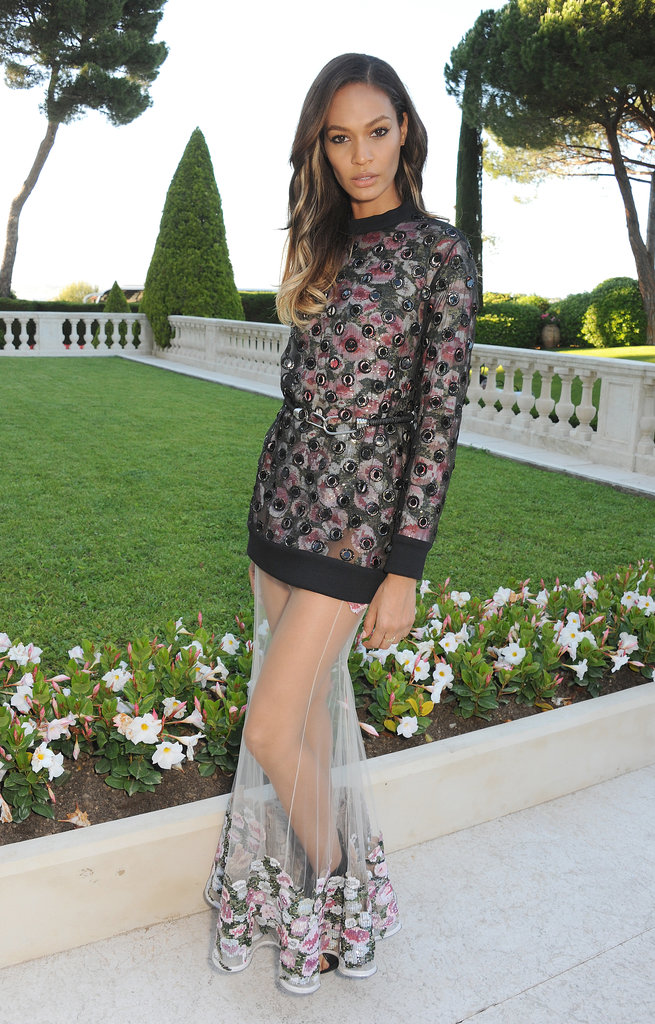 Joan Smalls showed off her stems in a floral Givenchy gown featuring a sheer skirt at the amfAR Gala in Cannes.