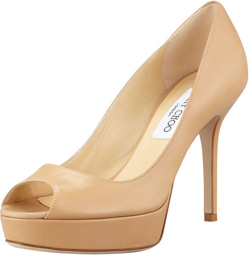 Jimmy Choo Tiara Platform Leather Pump, Nude