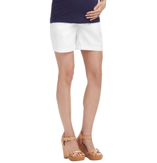 LOFT's white cotton maternity shorts ($45) feature a comfy elastic panel and front off-seam pockets.