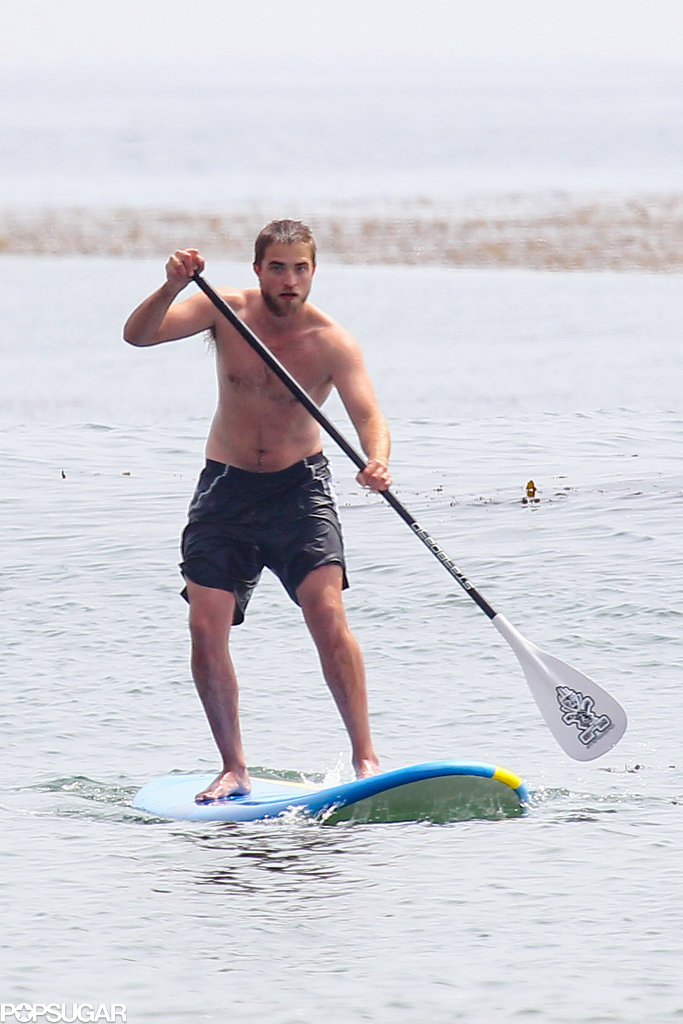 Robert Pattinson went paddleboarding shirtless in Malibu in March 2012.