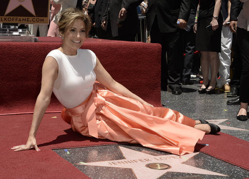 Jennifer Lopez posed with her star.