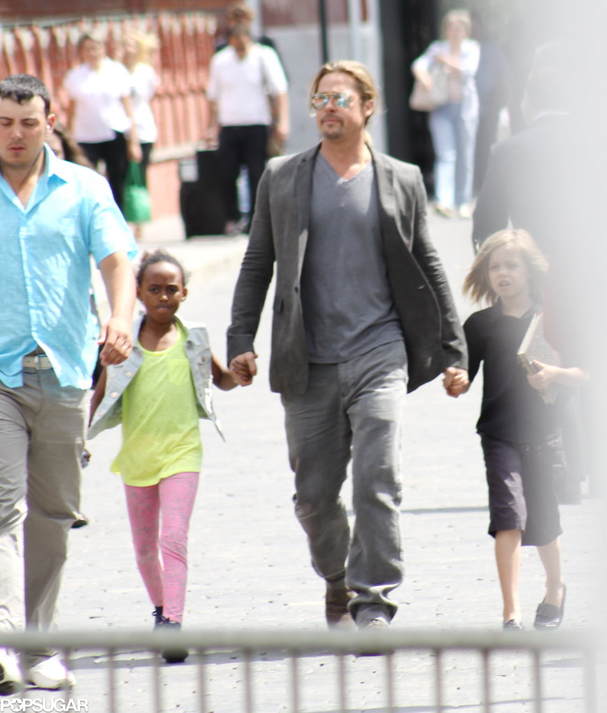 Brad Pitt visited the Moscow Kremlin with Zahara and Shiloh on Friday.