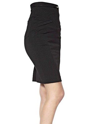 High Waist Stretch Viscose Skirt