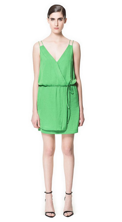 We think this Zara green double-strap wrap dress ($40, originally $60) is the ultimate wedding-guest dress. Plus, that price tag is too good to pass up. It also comes in blue.