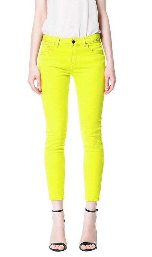 White jeans are great for summertime, but we say shock your closet with these Zara neon twill trousers ($50, originally $60).
